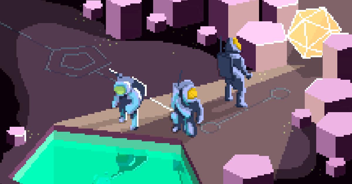 Drawing A Retro Sci Fi Pixel Art Scene In Hexels Marmoset